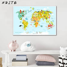 Sea Life Continents Animal <b>World Map</b> Picture Children Poster ...