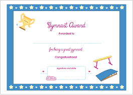 gymnast printable award certificate dolls gymnast printable award certificate