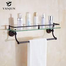bathroom tempered glass shelf: yanjun bathroom accessories antique black finish with tempered glass bathroom shelf bathroom towel rack yj