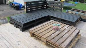 here a beautiful diy pallet outdoor sofas you can see in black color pallets and table inside of black pallets you can made a easy well seated place by use beautiful wood pallet outdoor furniture