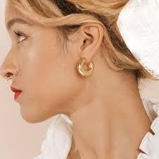 Chunky <b>Gold Abstract</b> Hoop Earrings | 18kt Gold Vermeil | Motley x ...