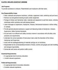 welder assistant job description example description of a welder