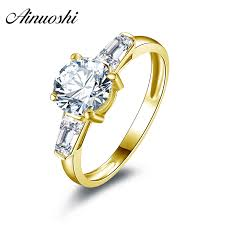 <b>AINUOSHI 10k Solid Yellow</b> Gold Wedding Rings Top Quality ...