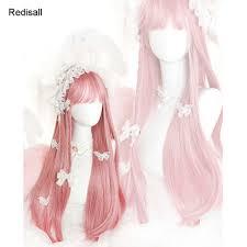 Harajuku Sakura Pink <b>Lolita Wig</b> Sweet Long Straight Cute Synthetic ...