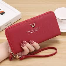 Fashion Women's <b>Litchi Leather</b> Long Purse Zipper Wallet   Shopee ...