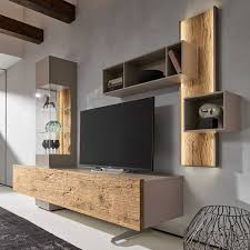 Bohle Combination <b>TV Wall Unit</b>, Oak & Glass - Barker & Stonehouse