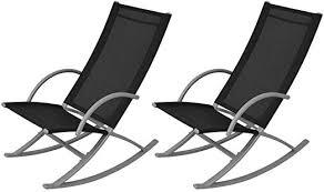 Anself <b>Garden Rocking Chairs</b> Set of <b>2</b> Black: Amazon.co.uk ...