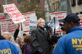 photo essay wake up chancellor milliken the advocate psc union president barbara bowen leads cuny faculty and staff at a protest this past month