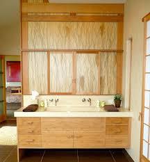 view in gallery artistic floating bathroom vanity draped extensively in light grain wood asian bathroom lighting