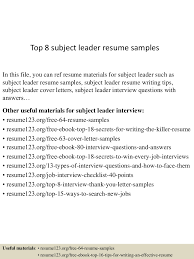 top8subjectleaderresumesamples 150601111533 lva1 app6892 thumbnail 4 jpg cb 1433157389