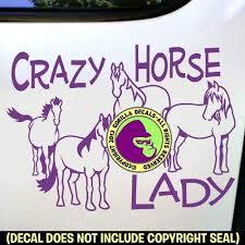 <b>CRAZY HORSE LADY</b> Herd Equine Vinyl Decal Sticker C
