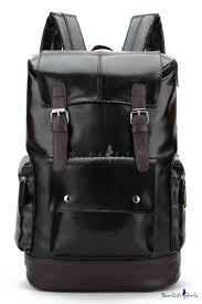 <b>Simple Big Capacity</b> Flat Pocket Patched Black PU Leather Travel ...