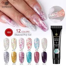<b>Saviland 15g Color PolyGel</b> Finger Extension Glitter Poly gel Nail ...