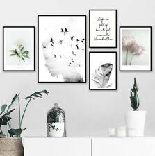 Wall Art Canvas Poster <b>Girl</b> Bird Flower <b>Feather</b> Quotes <b>Landscape</b> ...