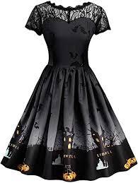 Excursion Women Vintage Short Sleeve Dress, <b>Halloween Theme</b> ...