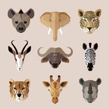 African <b>animal</b> heads set. hyena, <b>elephant</b>, jaguar, gazelle, buffalo ...