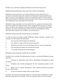 self reflection essay sample SlideShare