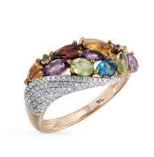 Золотое <b>кольцо</b> с <b>хризолитом</b>, аметистом, топазами, гранатом ...