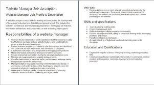 doc tower technician job descriptions com doc 1192664 job description web developer