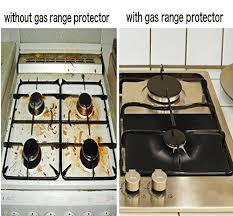 5-Pack PTFE <b>Non</b>-<b>stick Gas Range Protectors</b>, Black Stovetop ...