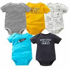 <b>5PCS</b>/<b>Lot</b> Baby Bodysuit O neck Short Sleeve Cotton Baby Clothing ...