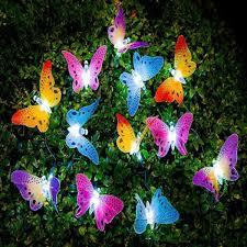 <b>12pcs set</b> LED Butterfly <b>Fiber Optic</b> Fairy LED Outdoor Garden Lights