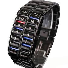 mudder® men s carbonized steel binary led wrist watch black mudder mens carbonized steel binary led wrist watch