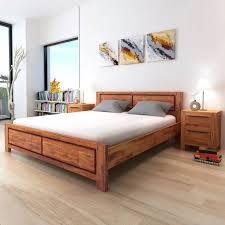 vidaXL <b>Bed Frame Solid Acacia</b> Wood Brown King Size
