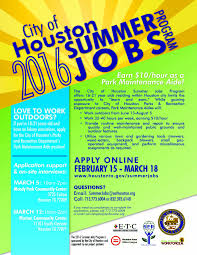 city of houston summer jobs park maintenance aide