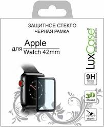 Защитное стекло <b>LuxCase</b> 3D для <b>Apple</b> Watch 42мм (чёрная ...