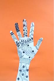 raise your zentangle hands art here and there b w drawing grade 5