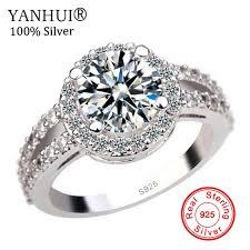 YANHUI 100% <b>925 Pure Silver</b> Engagement Ring <b>S925</b> Stamp 2 ...