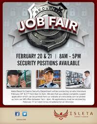 isleta resort casino security department job fair
