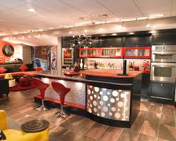 incredible basement track lighting combined with red stools and black cabinet full version basement track lighting