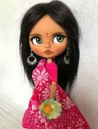 RESERVED Blythe doll custom - Shanta (natural moheir wig ...