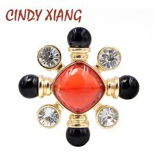 <b>CINDY XIANG</b> Resin Bead Red and Black Color Cross Brooch Pin ...