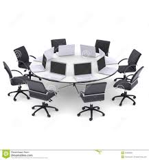 laptops on the office round table and chairs stock photos image awesome office desks ph 20c31 china