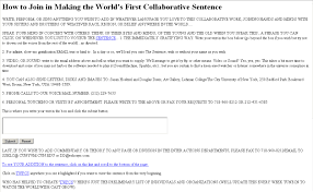 netart tips i how to join in the world´s first collaborative sentence