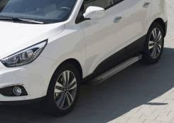 Алюминиевые <b>пороги Black Rival для</b> Hyundai Tucson III 2015-н. в ...