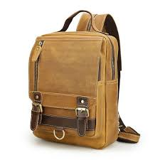 Vintage <b>Genuine Leather Travel</b> Sling Bag Backpack For <b>Men</b> Sport ...