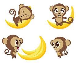 Set Of <b>Cartoon Funny</b> Monkeys With Big <b>Banana</b> In Different ...