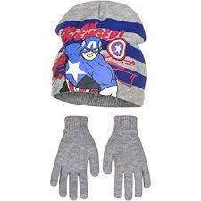 Marvel Avengers Childrens Boys <b>Captain America Hat</b> and Gloves Set