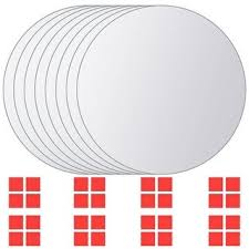 Shop vidaXL <b>8 pcs Mirror Titles</b> Round Glass - Silver - Overstock ...