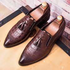 Brown Tassels Croc <b>Mens Pointed Head</b> Loafers Dress Dapper Man ...