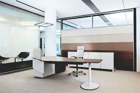adorable white finish stained concrete ceiling plastering wall charming dark brown varnished wooden office table top adorable glass top office