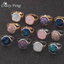 <b>Crazy Feng Trendy</b> Druzy Stone Finger Rings For Women Silver ...