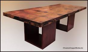 tables madison table x: rectangular copper dining table wood cube table base