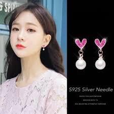 COD  S925 Silver Korean <b>fashion Heart Pearl Earrings</b> Jewelry ₱79