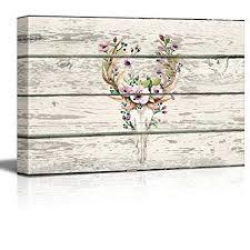 wall26 - Flowering Deer Skull - Western Floral Artwork ... - Amazon.com
