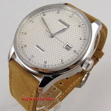 43mm <b>parnis</b> white dial date window leather sea-gull 2551 ...